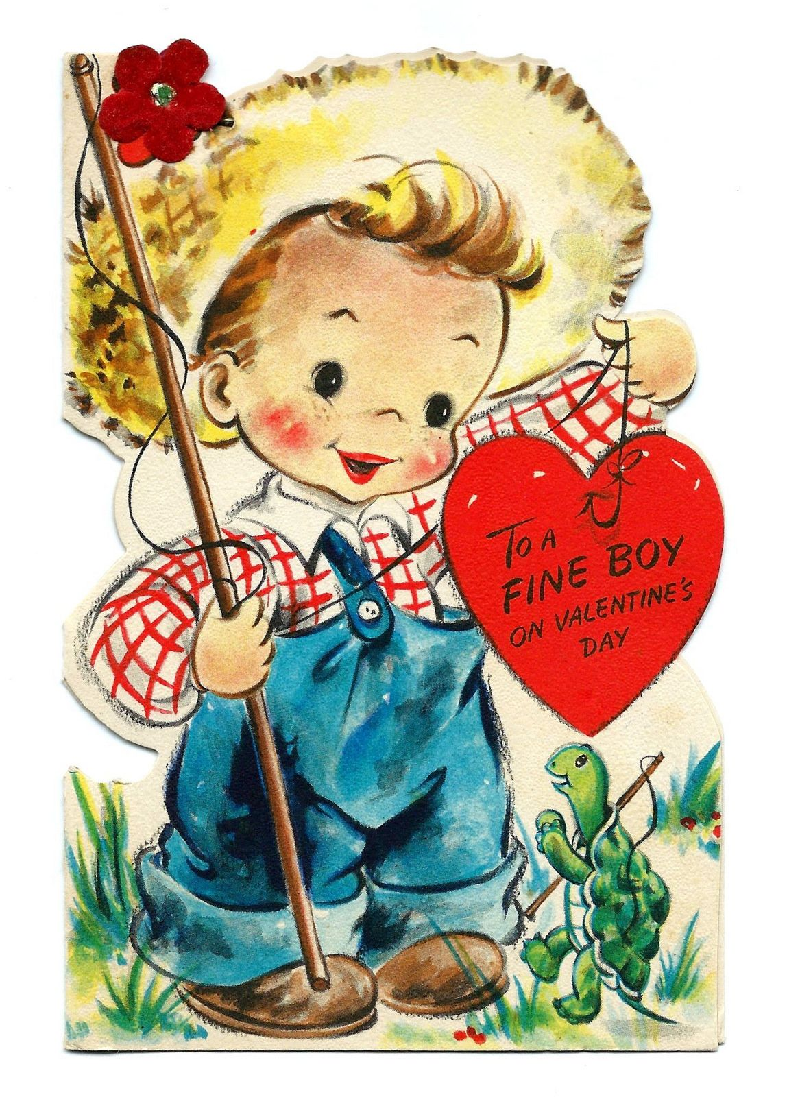 Vintage valentine card to a fine boy on valentines day tommy and vintage valentines day greeting card for a boy fishing pole turtle straw hat kristyandbryce Choice Image