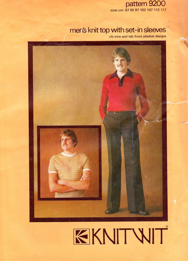 Knitwit 9200 Mens Polo Shirt T Shirts 70s Vintage Sewing Pattern ...