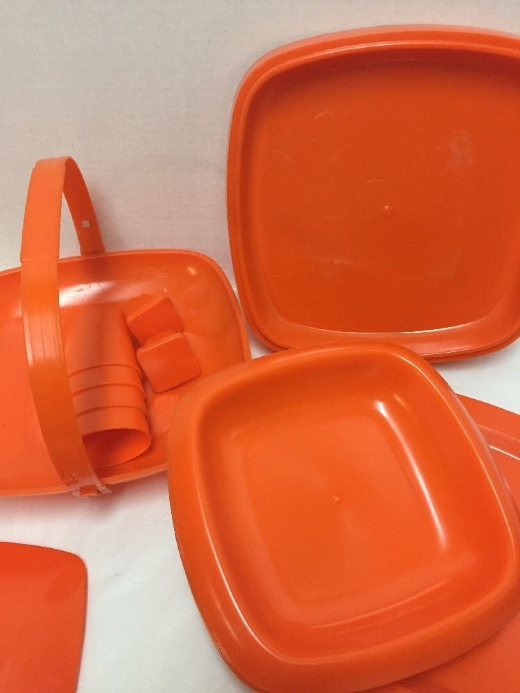 Plastic Picnic Set Servings for 4 Stacking Plates Bowls Cups Orange & Plastic Picnic Set Servings for 4 Stacking Plates Bowls Cups Orange ...