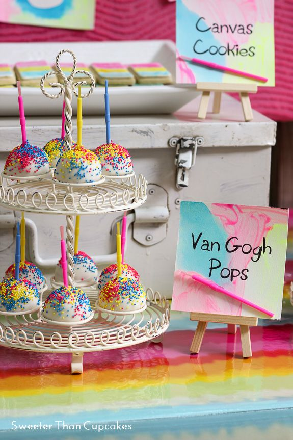 Neon Watercolor Birthday Party Cake Pops Art Painting Partyideas Cakepops Artparty Partyfood
