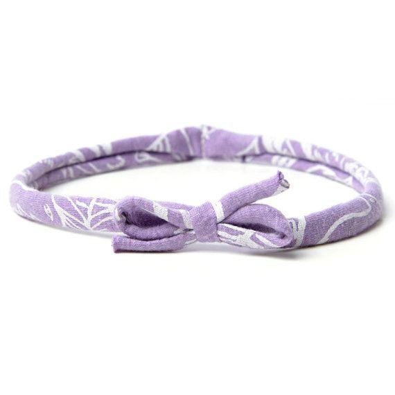 Birdie Headband in White on Lavender by thiefandbanditkids on Etsy