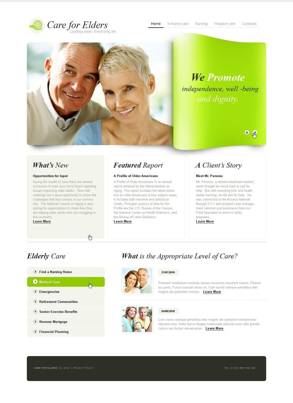 Elderly Care PSD Template 56169 Elderly care, Homecare