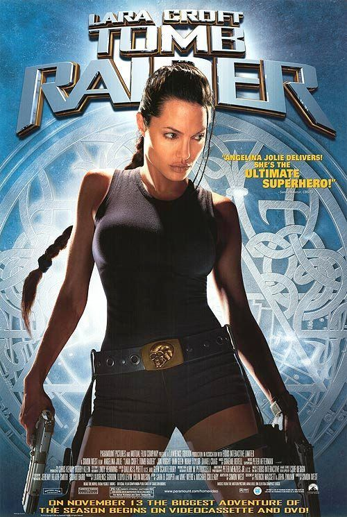 Tomb Raider Movie Poster 27x40 Lara Croft Used Angelina Jolie Olegar Fedoro Robert Phillips James Embree Jimmy