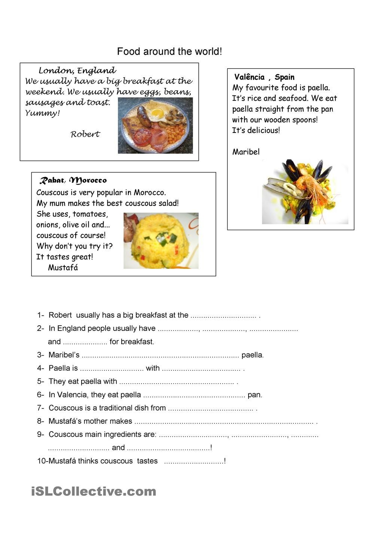 Food Around The World Reading Comprehension Worksheets Reading Comprehension Activities Food [ 1440 x 1018 Pixel ]