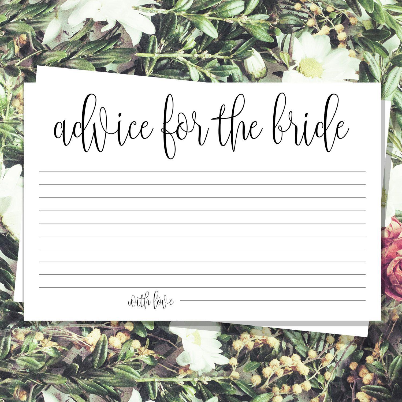 Bridal advice cards Bohemian advice card Bridal shower cards | Etsy