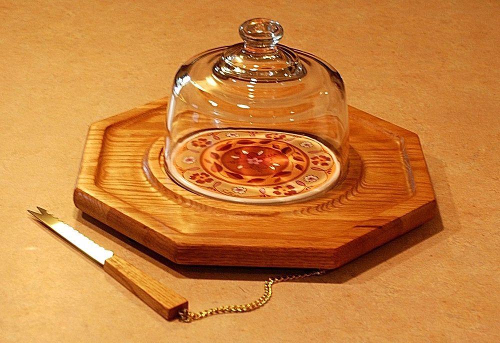 Vintage Cheese Board Cloche Dome Himark Saltera Server Cracker Wood Retro Flower #Himark
