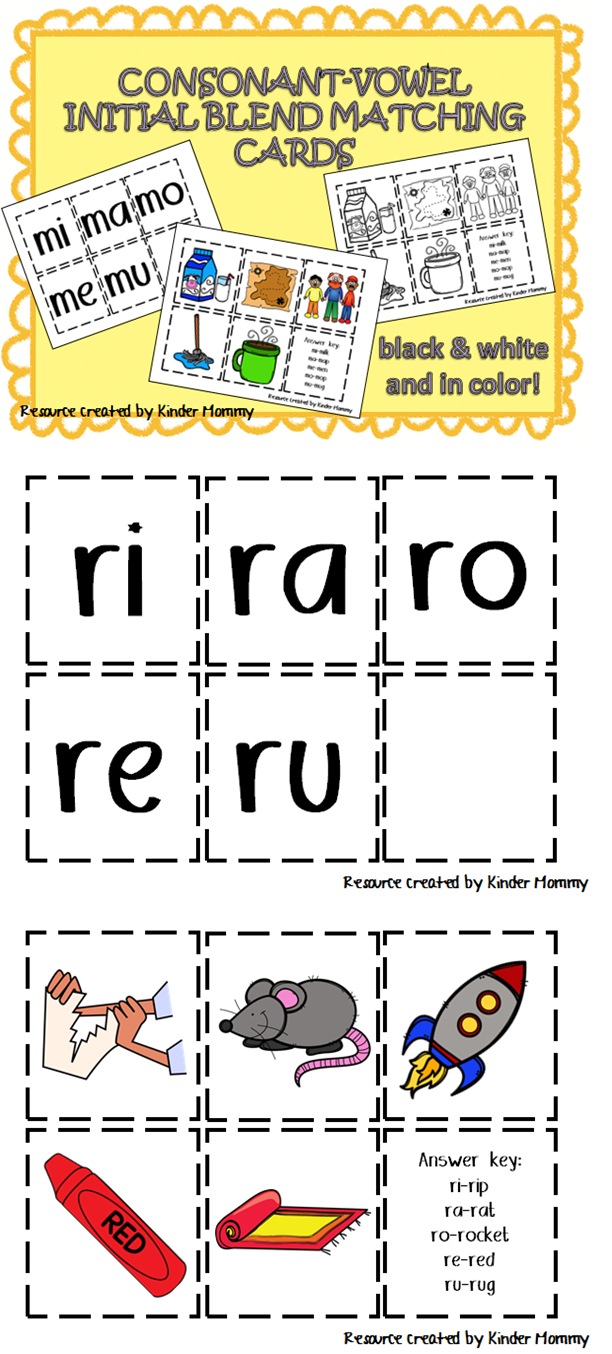 Consonant And Short Vowel Blending Matching Cards Matching Cards