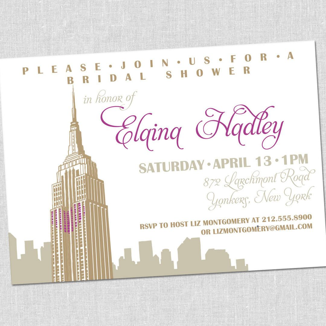 New York City Empire State Building Shower Invitation Gatsby On