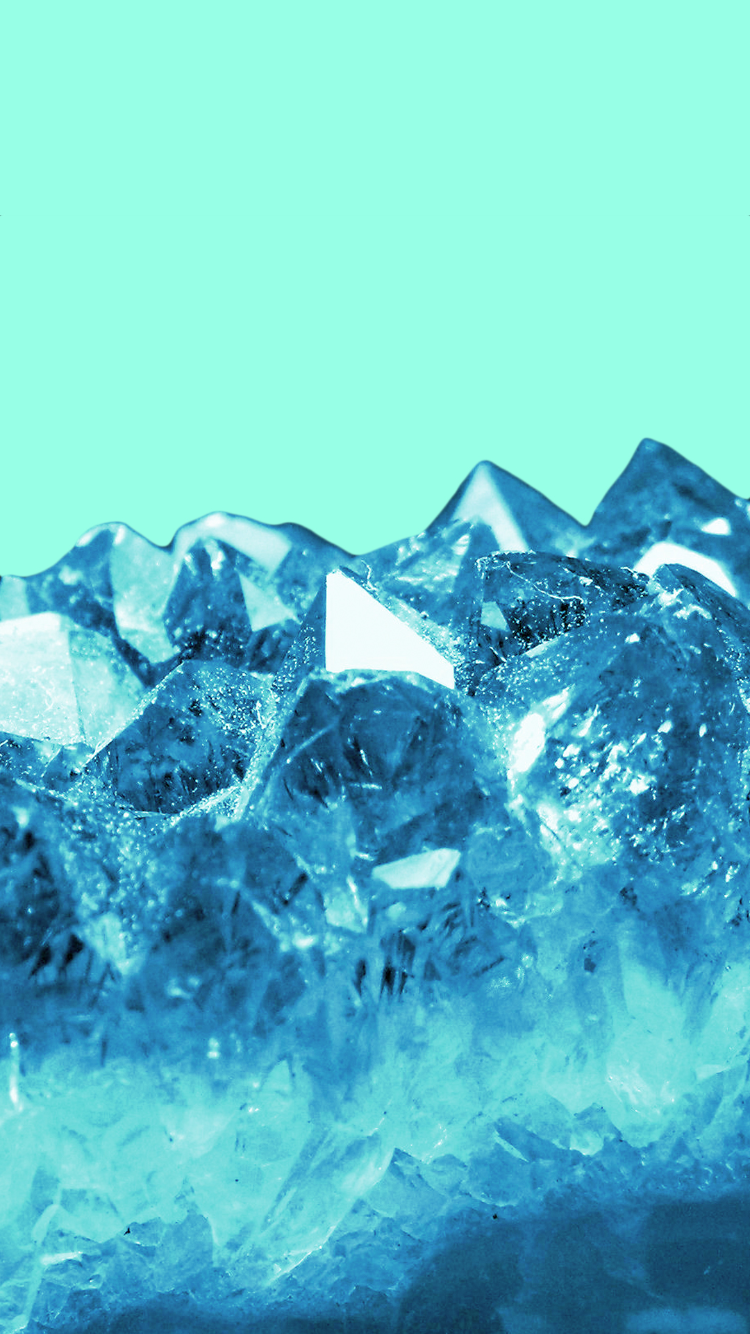 Green background blue crystals iPhone wallpaper
