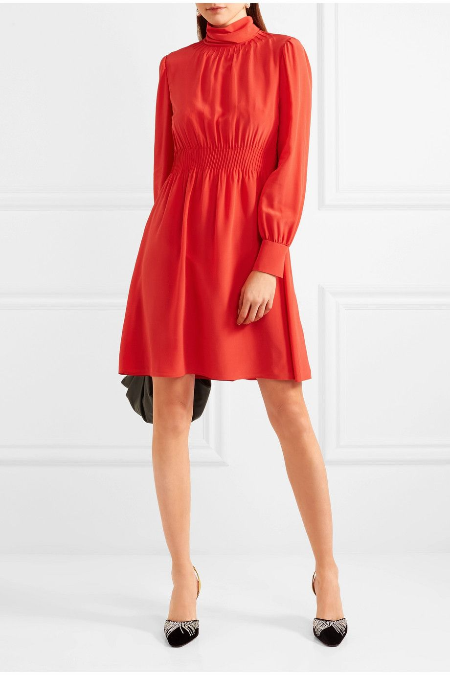 Discount For Cheap Pintucked Silk Crepe De Chine Turtleneck Mini Dress - Red Valentino In China Sale Online Buy Cheap Classic Genuine For Sale f7GK8nu