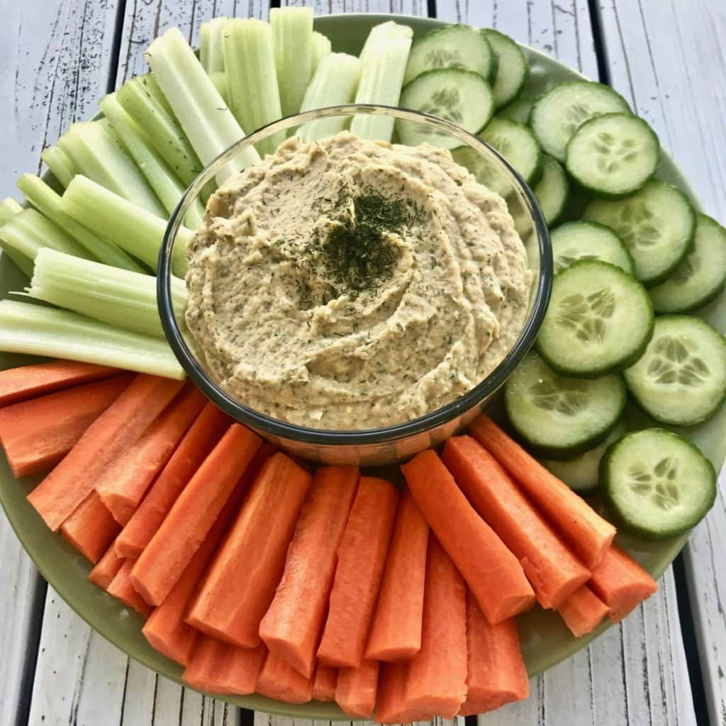 This dill hummus is vegan, oil free, and gluten free. It