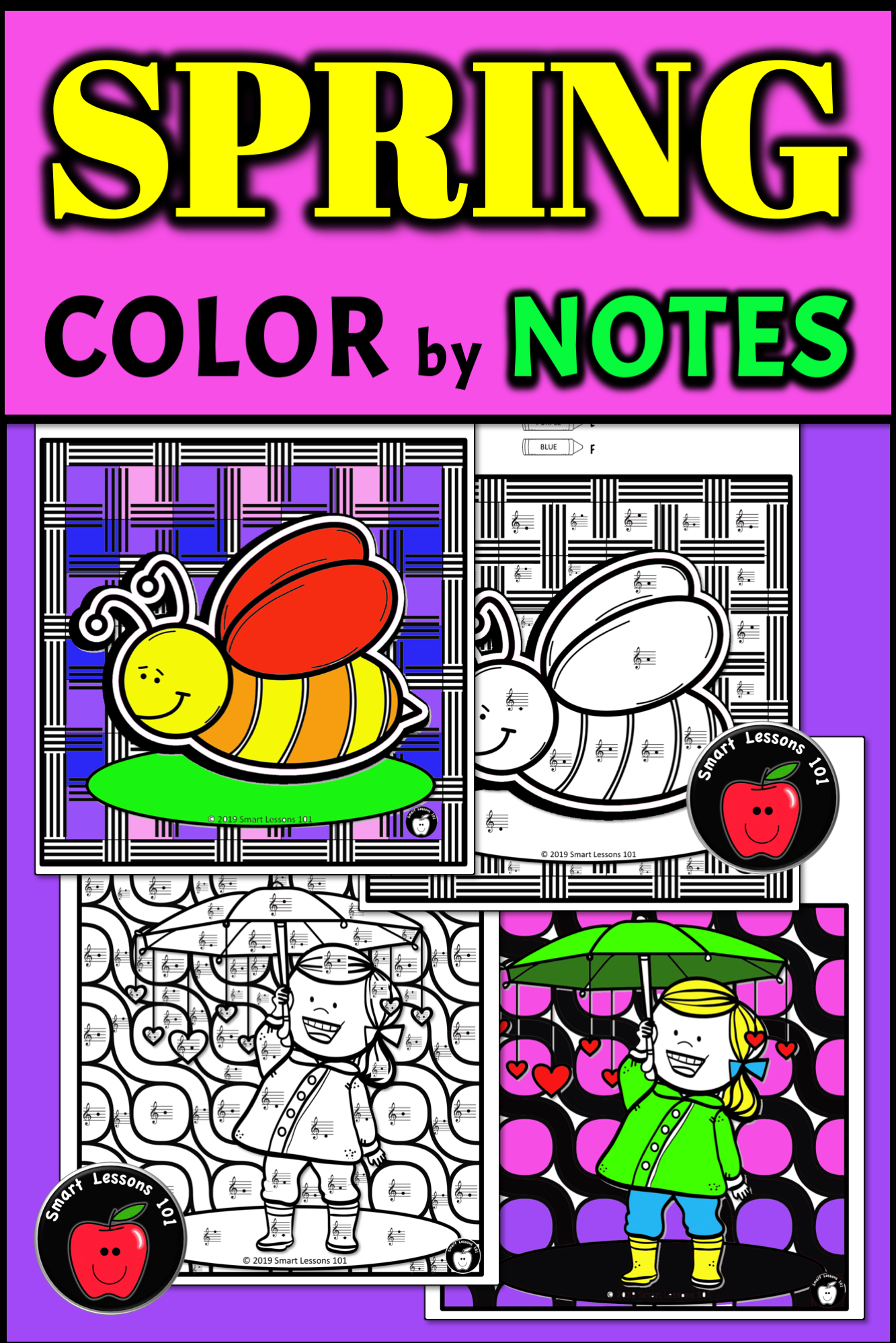 Distance Learning Spring Music Color By Code Worksheet