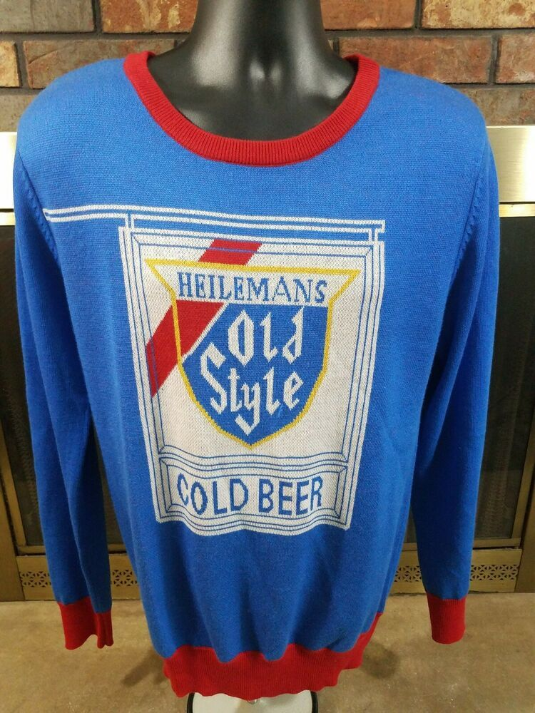 Vintage Heilemans OLD STYLE Cold BEER SWEATER Mens SIZE