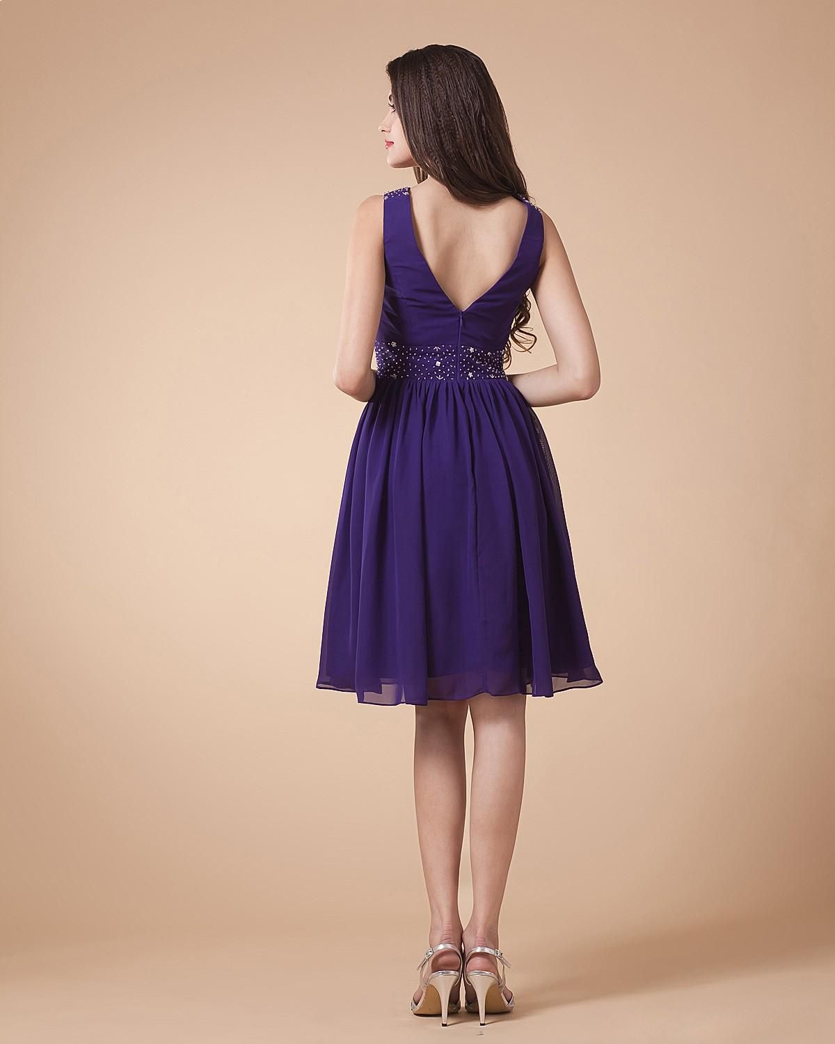 Chiffon V-Neck Pleated Ankle Length Cocktail Dress | dresses | Pinterest