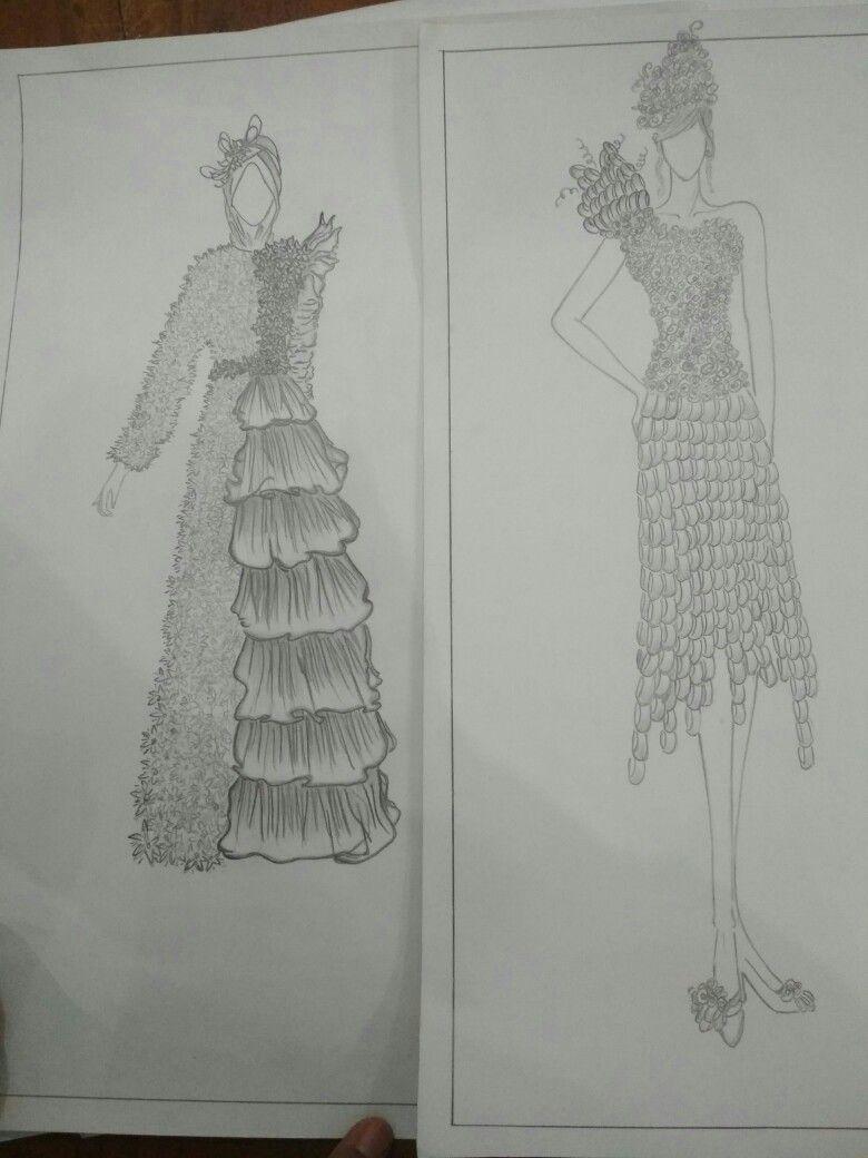 Desain Sketsa Gaun Limbah Design In 2019 Sketches Design Art