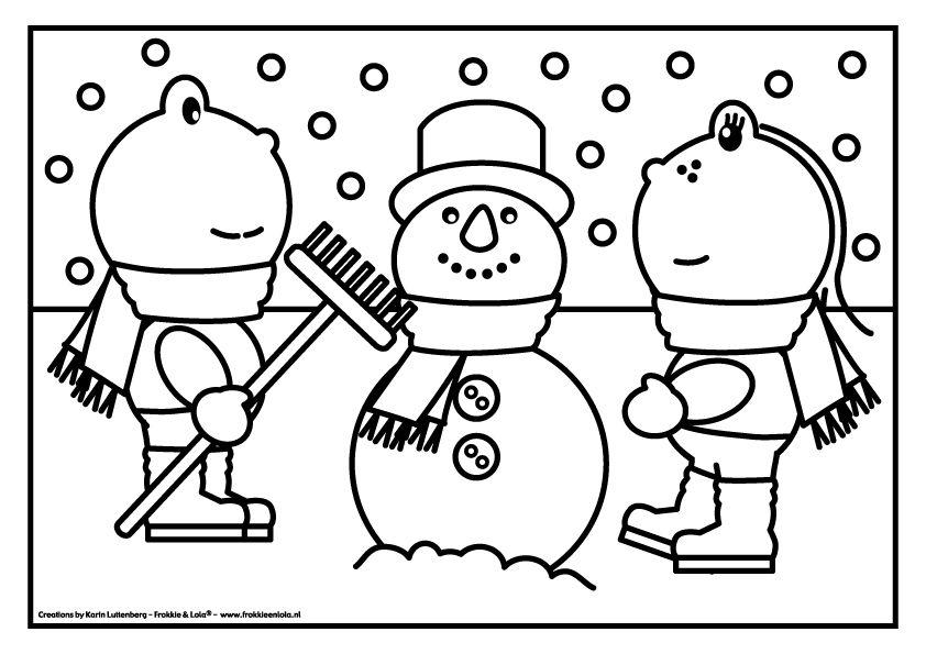 Kleurplaat Frokkie Lola Sneeuwpop Winter Kleurplaten Pinterest