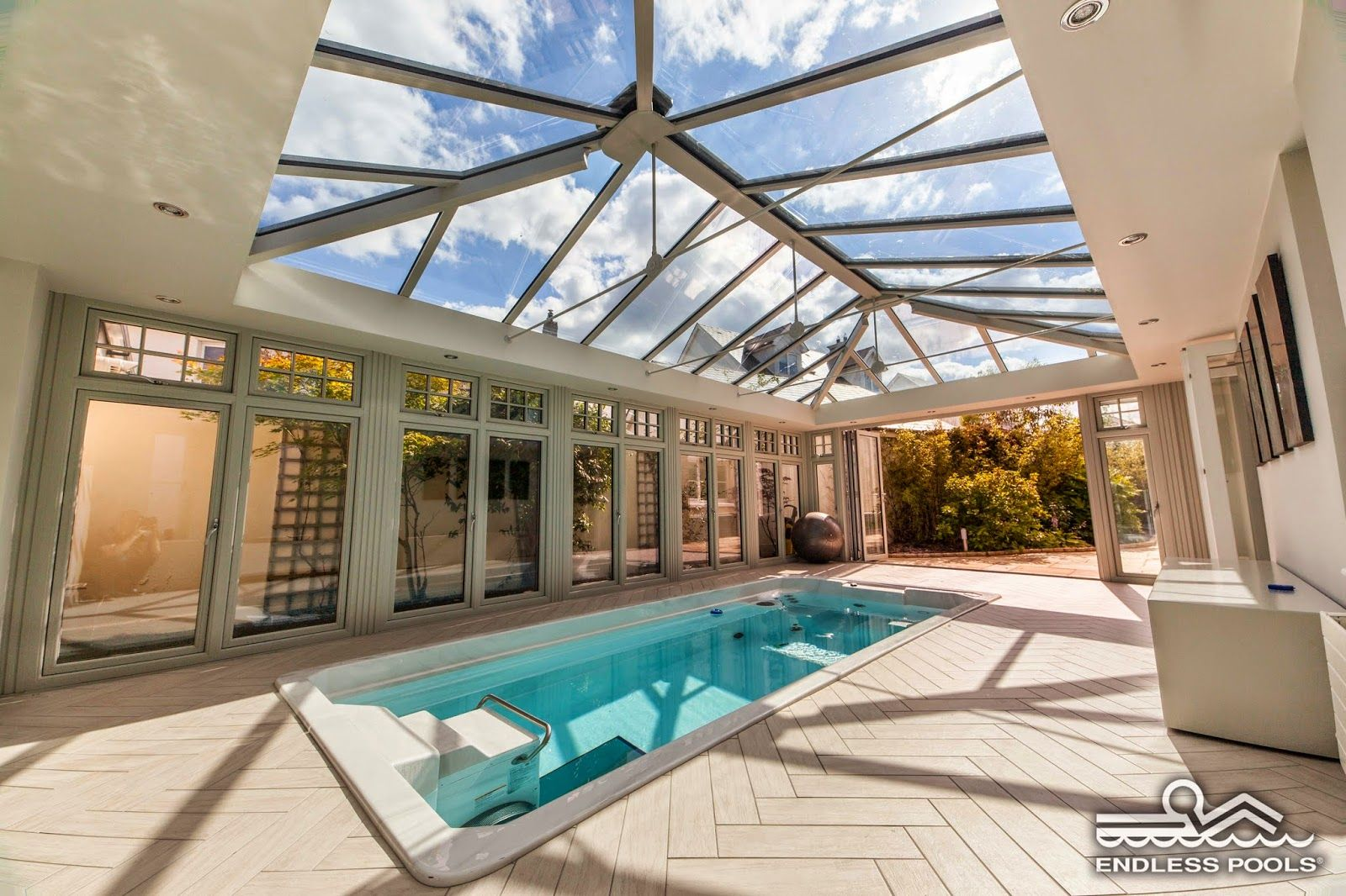 A Conservatory Installation Of An Endless Pool Swim Spa In County Dublin Ireland For More Ideas Visit Indoor Swimming Pool Design Endless Pool Pool Houses