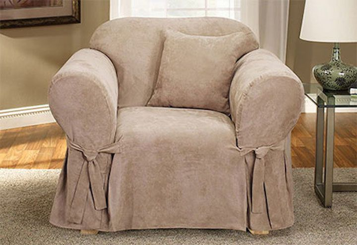 1 Pc Sure Fit Soft Suede Chair Slipcover Taupe Tan For Box Seat Cushion Slipcovers For Chairs Armchair Slipcover Furniture Slipcovers
