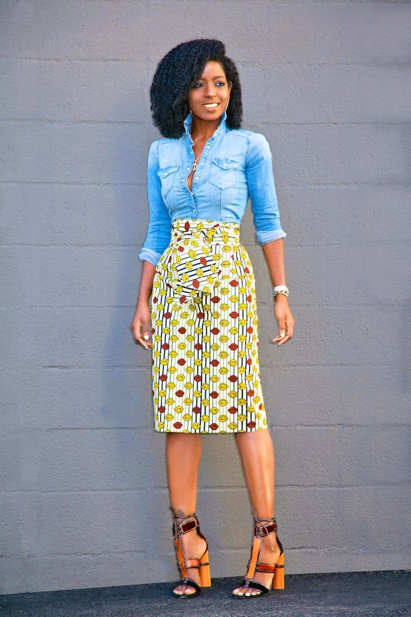 5b385ddcab Fitted Denim Shirt + Belted Ankara Wrap Skirt (Style Pantry)