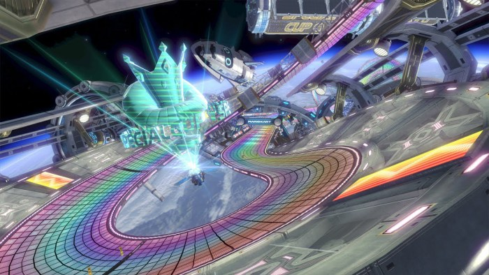 Rainbow Road Panorama With Images Mario Kart 8 Mario Kart Mario
