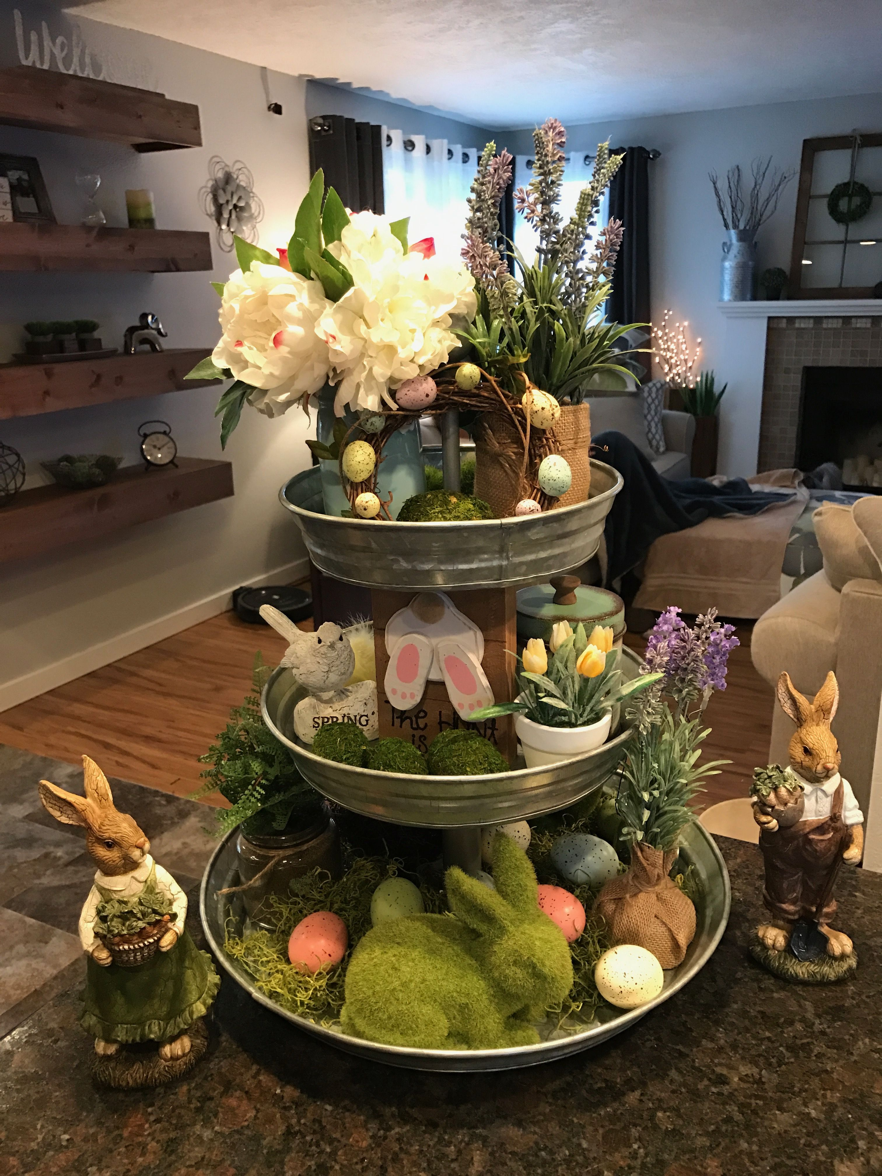 Spring Tiered Decor Diy Easter Decorations Spring Easter Decor Easter Decorations Diy Easy