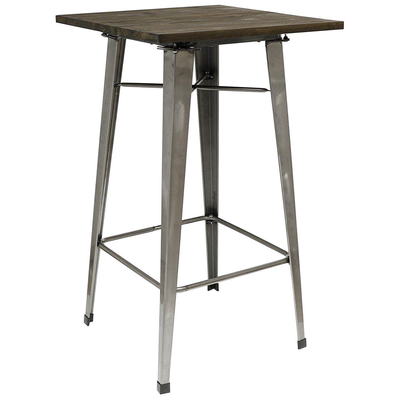 Hartleys Tall Industrial Design Table - Gunmetal & Wood: Amazon.co.uk: Kitchen & Home