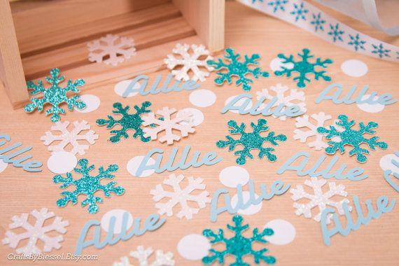 Personalized Frozen Birthday Party Confetti, Table Scatter, Glitter - confeti