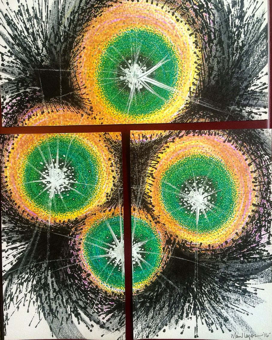 Mariel Lazo-Duran | Abstract with art markers, micropens, and chalk marker. #art #abstract #color