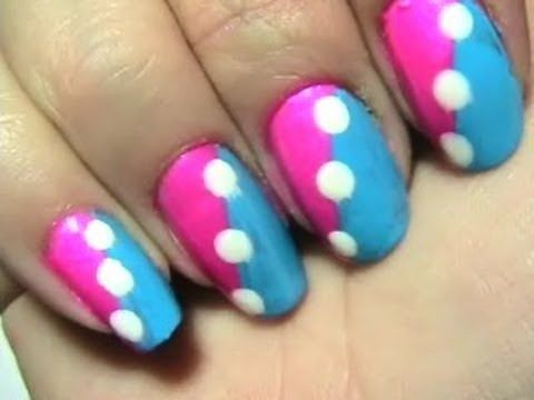 Blue Pink And White Easy Design For School Request Polka Dot