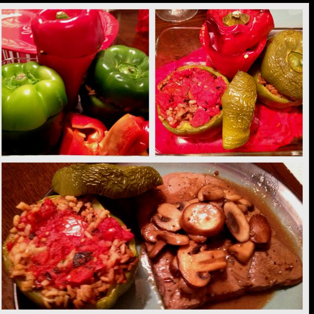 A Variation Of A Recipe I Found Here Stuffed Peppers With A Mixture Of Wild Rice Worcestershire Sauce Sea Salt Cracked Stuffed Peppers Savoury Food Recipes