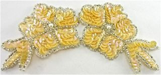 """Flower Pale Yellow Sequins and Silver Beads 6"""" x 3"""""""