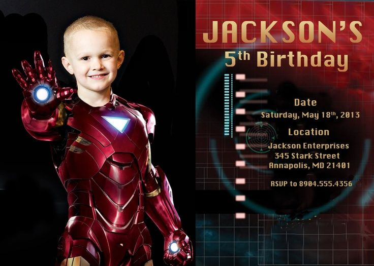 Boys Iron Man Birthday Party Invitations