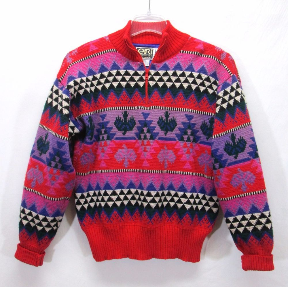 Vintage Sun Valley Ski Party Sweater Medium Nordic Wool Windstopper Quarter Zip Vintage Clothing Men Sweaters Party Sweaters