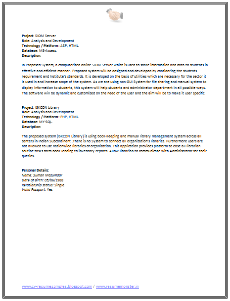 Cv Format For Software Engineer   Career    Cv