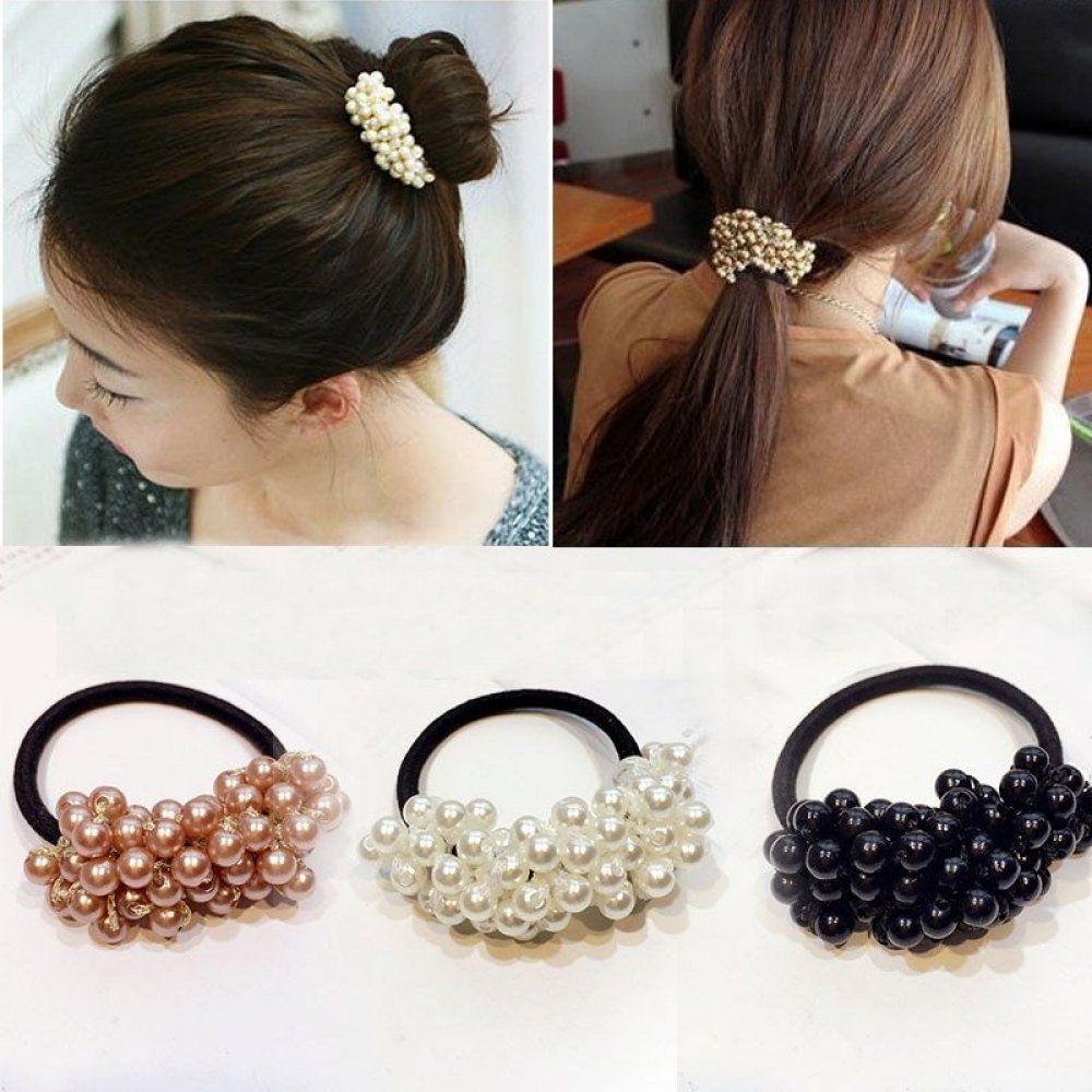 Women Rope Scrunchie Ponytail Holder Pearl Beads Elastic Hair Bands Hair Ties CA
