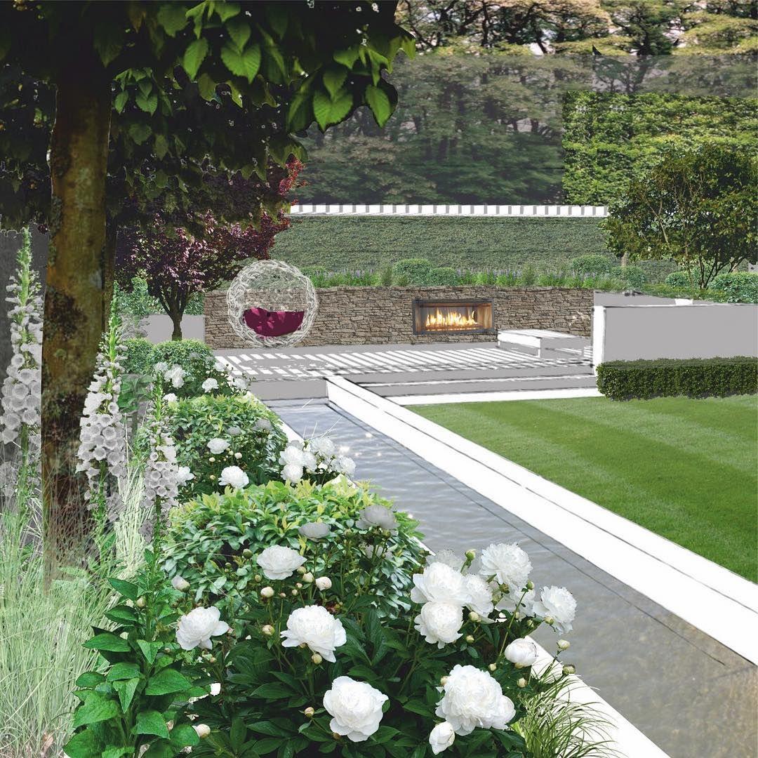 Wizualizacja Nowoczesnego Ogrodu Na Malej Dzialce Miejskiej Z Duza Skarpa Landscapedesign Gardendesign Gard Modern Garden Design Garden Design Modern Garden