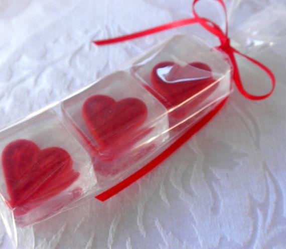 Heart soap set for gift wedding shower favor valentine - Hacer jabones de glicerina decorativos ...