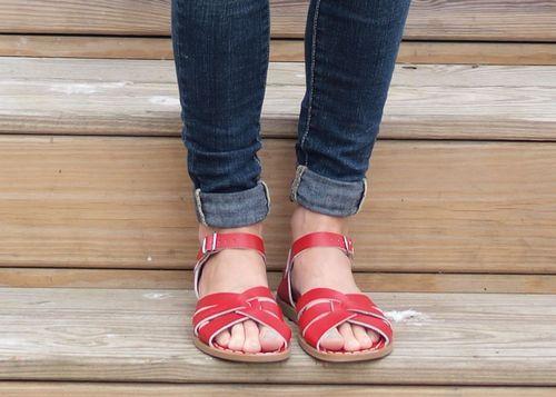 Saltwater sandals, Red sandals