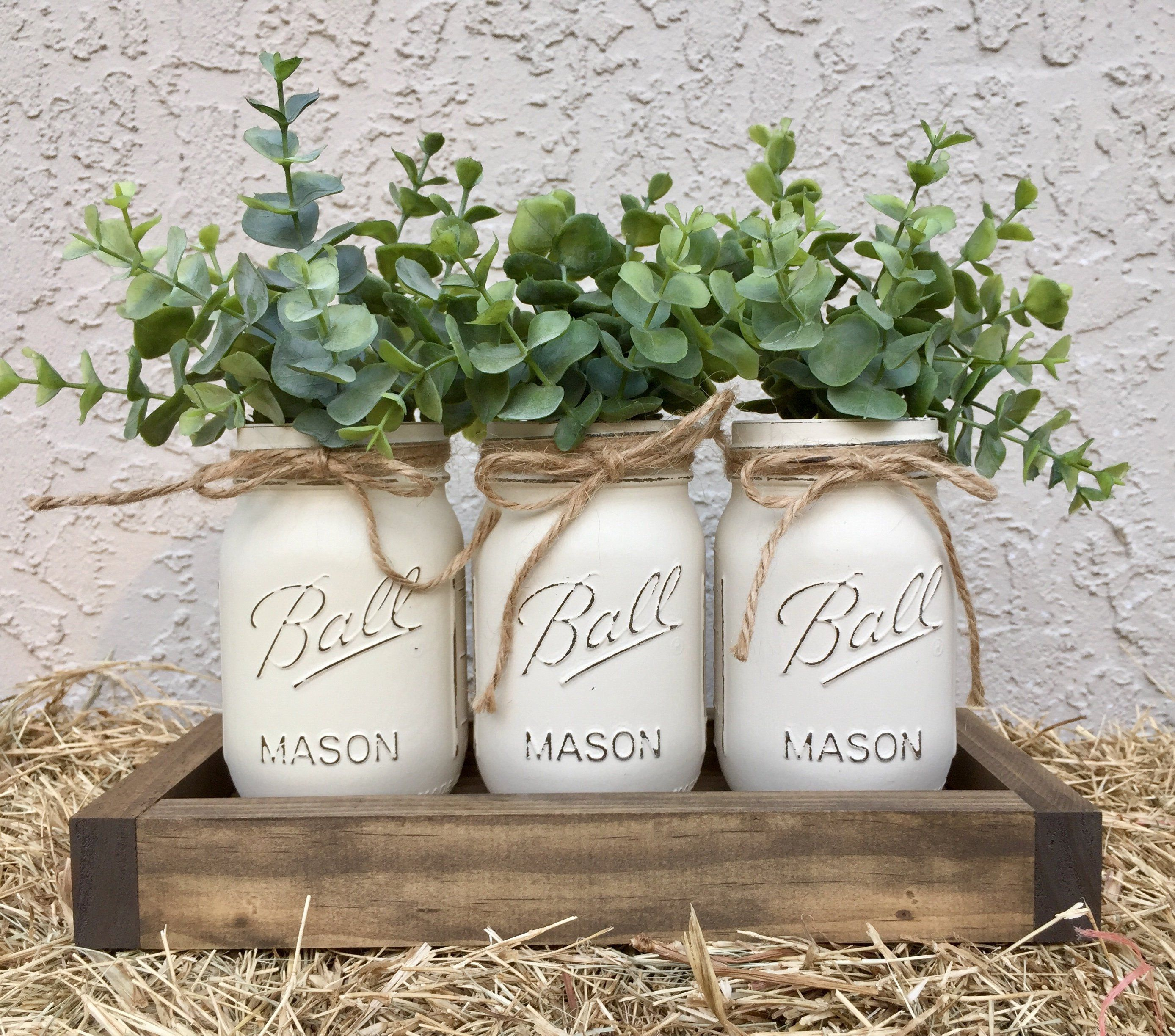 White Distressed table centerpiece mason jar decor farmhouse decor