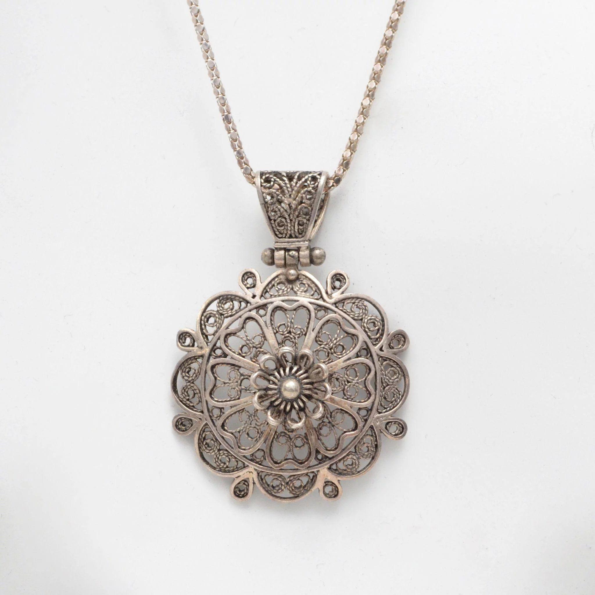 Sterling Silver Filigree Flower Pendant w/ Chain Black