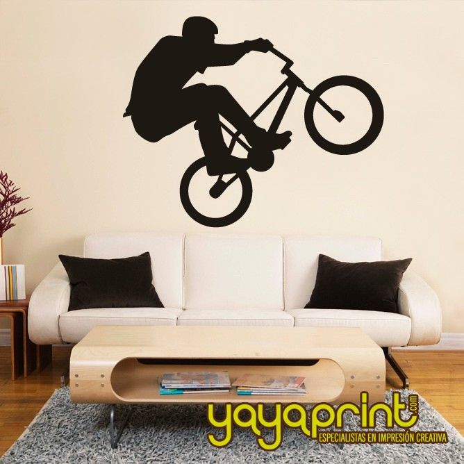 Vinilo decorativo pared bike bici hecho en espa a for Vinilos para neveras