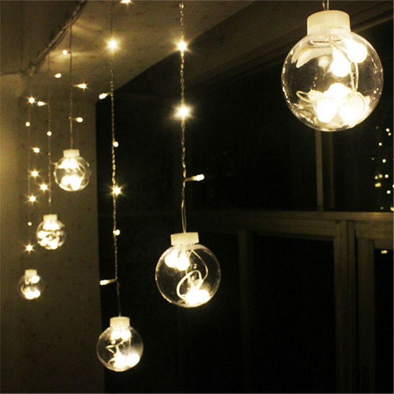 d coration de mariage rideau led boule de lumi re en plastique globe toil cordes guirlande. Black Bedroom Furniture Sets. Home Design Ideas