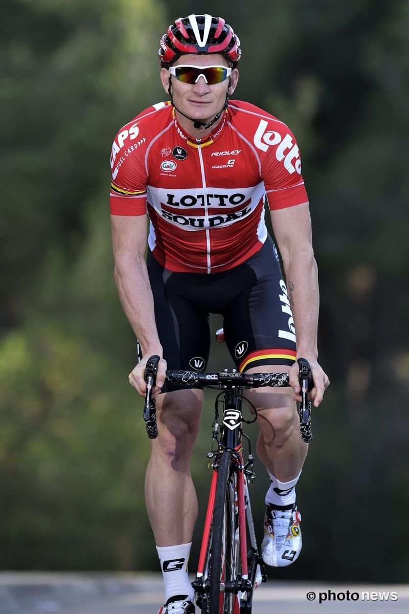André Greipel has been showing off the new Lotto Soudal kit for 2016  Pic Lotto Soudal photonews. 3d66383d4