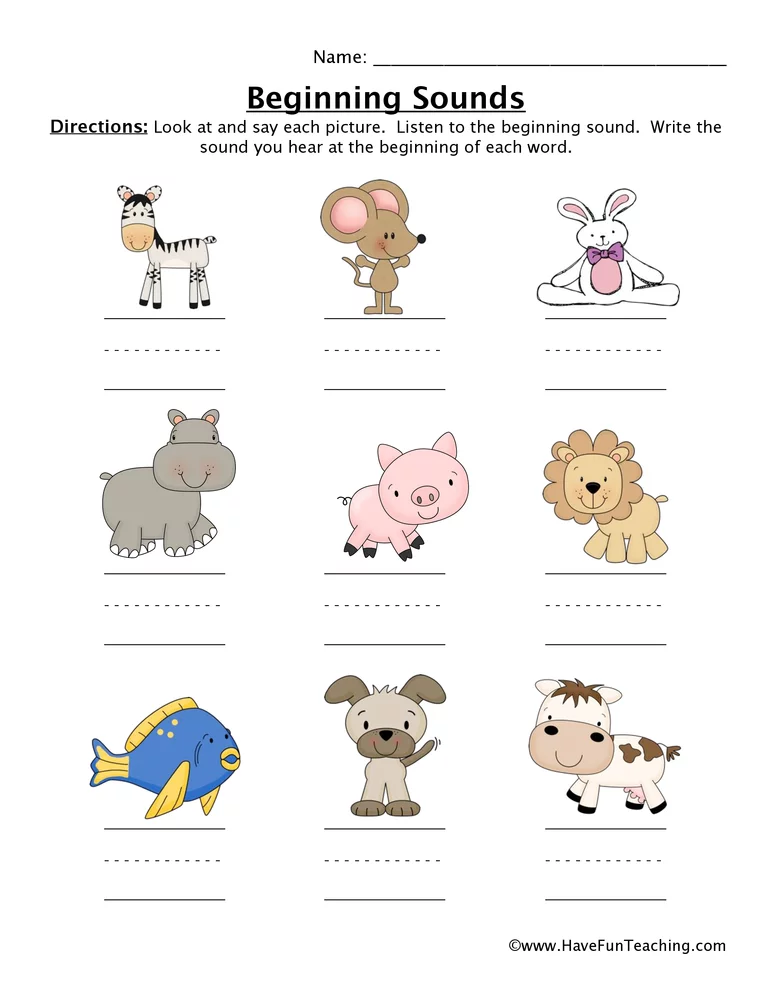 Animals And Their Sounds Worksheets For Kindergarten