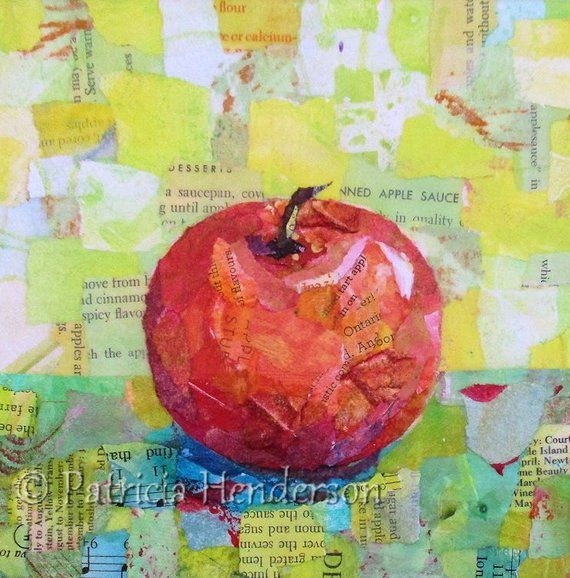 "PINK LADY Original Paper Collage Apple Painting 6 X 6"" on"