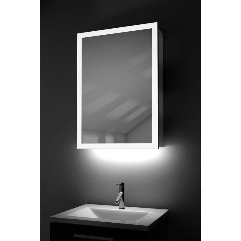 Meuble De Salle De Bain A Suspendre Armoire De Toilette Miroir En Bambou Et Miroir Lumineux Led