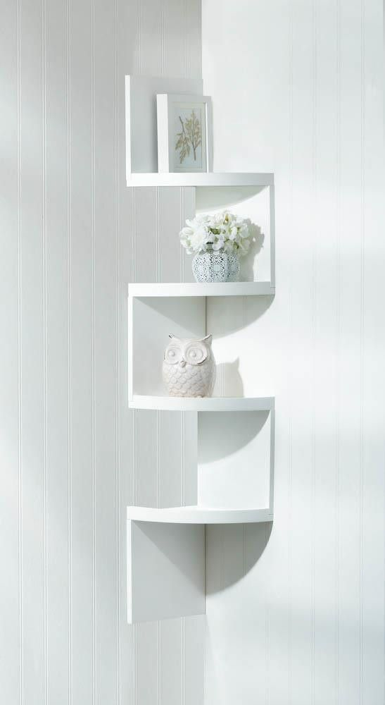 This Incredible Zig Zag Design Shelf Will Take Any Empty Corner Of Your Room And Transform It Into A Showcase Impeccable Style Finished In Bright White