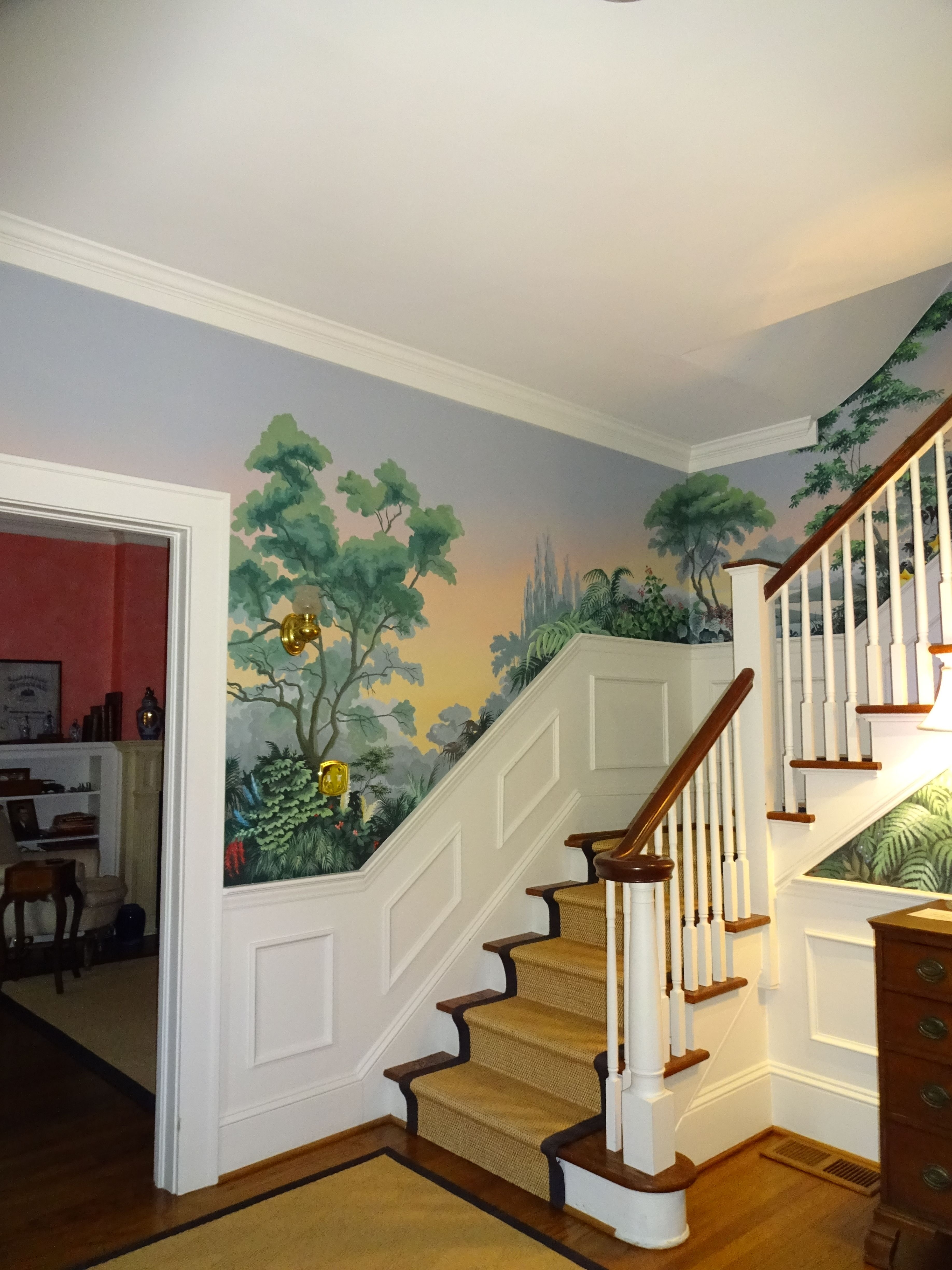 Hand Painted Stair Mural In 2019 Painted Stairs Dog