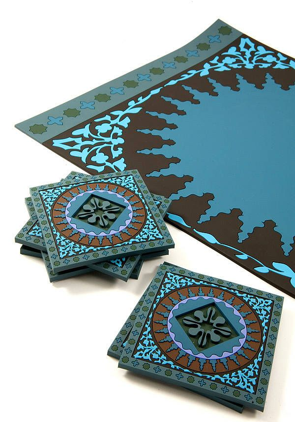 Set of Mosaic Blue Placemats inspired by