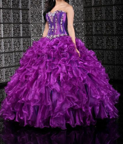 New-Hot-Purple-Quinceanera-Dress-Party-Evening-Prom-Ball-Gowns-Wedding-Dresses